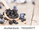 fresh made dried blueberries on ... | Shutterstock . vector #743103577