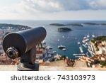 a telescope on the venetian...   Shutterstock . vector #743103973