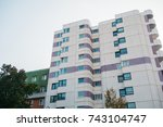 white and purble plattenbau... | Shutterstock . vector #743104747