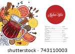 mulled wine in the glass and... | Shutterstock .eps vector #743110003
