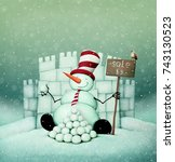 holiday greeting card with ... | Shutterstock . vector #743130523
