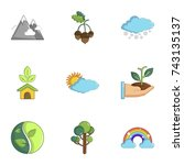 ecology icons set. cartoon set... | Shutterstock . vector #743135137