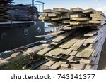 wood pile for construction site ... | Shutterstock . vector #743141377