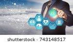 unrecognizable database manager ... | Shutterstock . vector #743148517