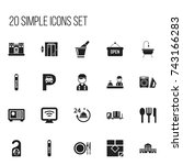 set of 20 editable hotel icons. ...