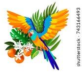 tropical ara parrot flying.... | Shutterstock .eps vector #743166493