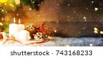 candels with christmas... | Shutterstock . vector #743168233