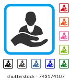 client care hand icon. flat... | Shutterstock .eps vector #743174107