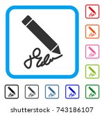 sign pencil icon. flat grey...   Shutterstock .eps vector #743186107