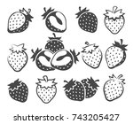 strawberry silhouettes vector... | Shutterstock .eps vector #743205427