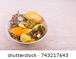 bowl of household vegetable and ... | Shutterstock . vector #743217643