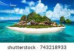 tropical island 3d illustration | Shutterstock . vector #743218933