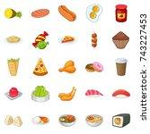 nosh icons set. cartoon set of... | Shutterstock .eps vector #743227453