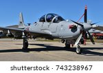 Small photo of Moody, Georgia, USA - October 27, 2017: The Embraer A-29 Super Tucano is a turboprop light attack aircraft used for counter-insurgency, close air support, and aerial reconnaissance.