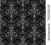 floral damask seamless pattern. ... | Shutterstock .eps vector #743250133