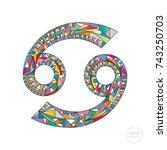 cancer zodiac sign. horoscope... | Shutterstock .eps vector #743250703