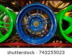 colorful blue alloy wheel for... | Shutterstock . vector #743255023
