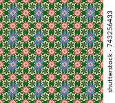 seamless floral pattern in... | Shutterstock .eps vector #743256433