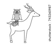 wild deer with owl | Shutterstock .eps vector #743260987