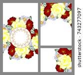 romantic invitation. wedding ... | Shutterstock .eps vector #743277097