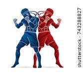 muay thai  thai boxing standing ... | Shutterstock .eps vector #743288827
