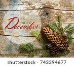hello december wallpaper with...   Shutterstock . vector #743294677