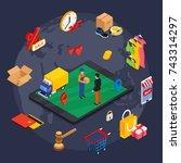 online shopping isometric...   Shutterstock . vector #743314297