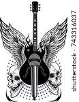 electric guitar  | Shutterstock . vector #743316037