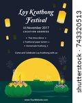 loy krathong festival poster... | Shutterstock .eps vector #743320513