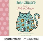 baby shower card template with... | Shutterstock .eps vector #743330503