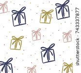 pattern with holiday presents.... | Shutterstock .eps vector #743337877