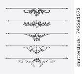 calligraphic design elements | Shutterstock .eps vector #743361073