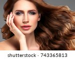 beauty woman portrait.... | Shutterstock . vector #743365813
