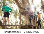 friends enjoying zip line... | Shutterstock . vector #743376937
