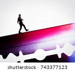 the concept of risk. a man in a ... | Shutterstock . vector #743377123