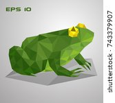 green frog sits in a swamp.... | Shutterstock .eps vector #743379907