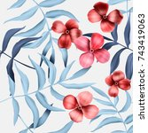 seamless tropical flower  plant ...   Shutterstock . vector #743419063