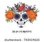vector sugar skull with... | Shutterstock .eps vector #743419633
