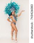 gorgeous brazilian samba dancer ... | Shutterstock . vector #743426083