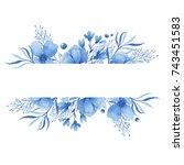 watercolor frame of delicate...   Shutterstock . vector #743451583