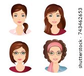 different female hairstyles.... | Shutterstock .eps vector #743462653