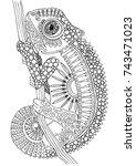 Hand Drawn Chameleon. Sketch...