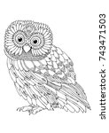 hand drawn owl. sketch for anti ... | Shutterstock .eps vector #743471503