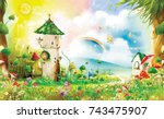 magic forest with fairy tale... | Shutterstock . vector #743475907