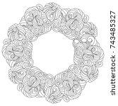 vector monochrom abstract frame ... | Shutterstock .eps vector #743485327