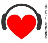 love heart headphones flat... | Shutterstock .eps vector #743491783