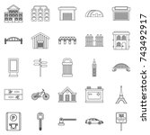road signs icons set. outline... | Shutterstock . vector #743492917
