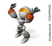 a cute robot stands to catch... | Shutterstock . vector #743499343