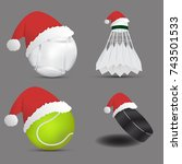 santa claus hat with boules... | Shutterstock .eps vector #743501533