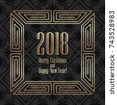 2018 new year greeting card in... | Shutterstock .eps vector #743528983